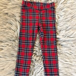 Janie and Jack Red Plaid Christmas Pants- Size 4